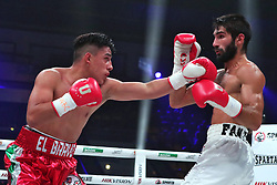 October 2, 2018 - Kyiv, Ukraine - Ukrainian boxer Aram Faniian (R) and Mexican boxer Rene Tellez Giron are seen in action during their match for the vacant World Boxing Council Youth Silver Super Lightweight Title at the Together with Legends tournament held at the Palace of Sports within the frames of the 56th WBC Convention in Kyiv, capital of Ukraine, October 2, 2018. Ukrinform. (Credit Image: © Pavlo_bagmut/Ukrinform via ZUMA Wire)