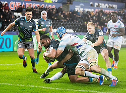 Ma'afu Fia of Ospreys scores his sides third try<br /> <br /> Photographer Simon King/Replay Images<br /> <br /> European Rugby Champions Cup Round 3 - Ospreys v Racing 92 - Saturday 7th December 2019 - Liberty Stadium - Swansea<br /> <br /> World Copyright © Replay Images . All rights reserved. info@replayimages.co.uk - http://replayimages.co.uk