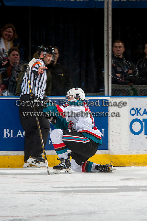 KELOWNA, CANADA - JANUARY 7: Nick Merkley #10 of the Kelowna Rockets celebrates a goal against the Kamloops Blazers on January 7, 2017 at Prospera Place in Kelowna, British Columbia, Canada.  (Photo by Marissa Baecker/Shoot the Breeze)  *** Local Caption ***