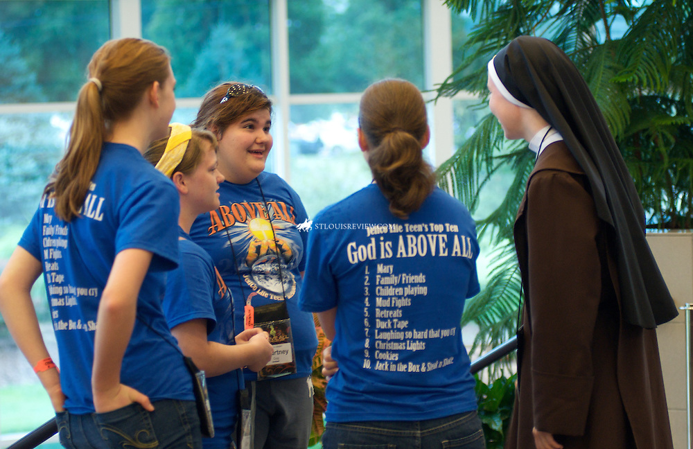Teens from the Jeffco LifeTeen youth group spoke with Carmelite sister  before Mass on Sunday. Many teens stood when asked if they felt they may be called to the priesthood or religious life during Mass.
