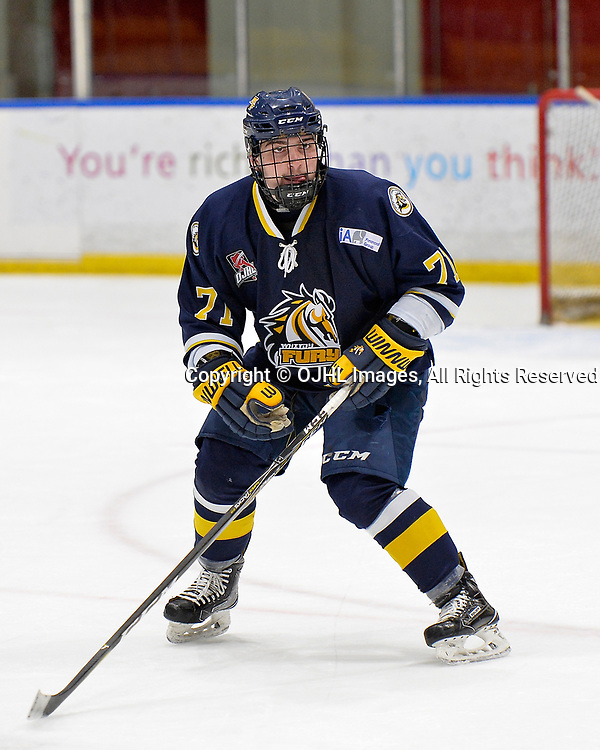 WHITBY, ON  - OCT 29,  2017: Ontario Junior Hockey League game between the Whitby Fury and Oakville Blades. Amedeo Mastrangeli #71 of the Whitby Fury defends to zone during the third period.<br /> (Photo by Shawn Muir / OJHL Images)