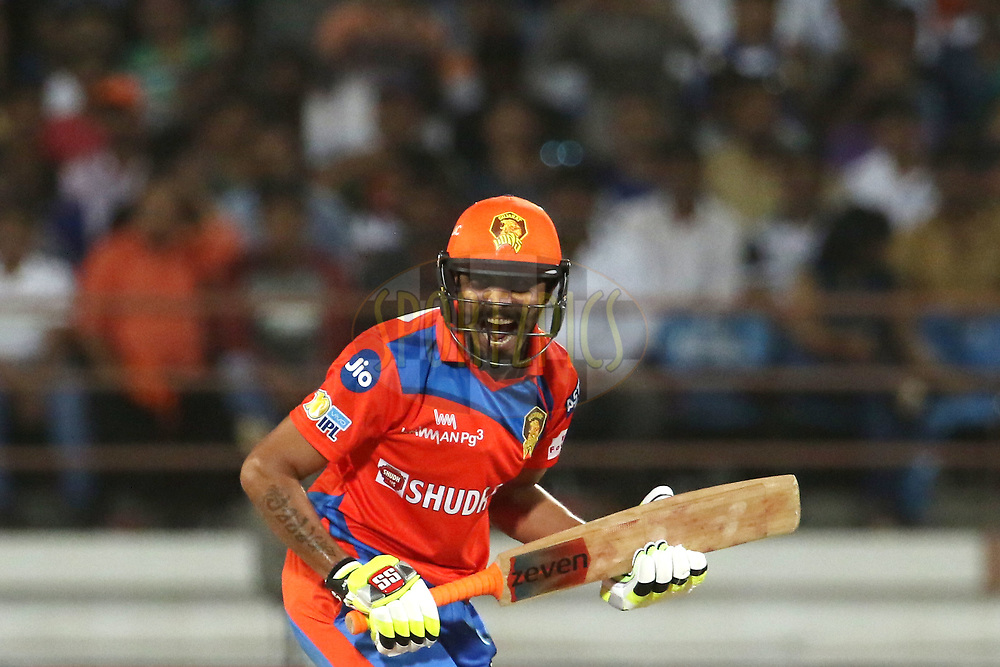 Ravindra Jadeja of the Gujarat Lions reacts during match 35 of the Vivo 2017 Indian Premier League between the Gujarat Lions and the Mumbai Indians  held at the Saurashtra Cricket Association Stadium in Rajkot, India on the 29th April 2017<br /> <br /> Photo by Vipin Pawar - Sportzpics - IPL