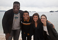 Digao Ribeiro, Juan Paiva, Director Alice Furtado and Alice Furtado at Sick, Sick, Sick (Sem Seu Sangue) film photo call at the Cannes Directors' Fortnight, Friday 24th May 2019, Plage Quinzaine, C-Beach, Cannes, France. Photo credit: Doreen Kennedy