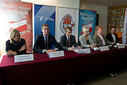 (L-R) Iwona Guzowska and Adam Krzesinski and Dariusz Buza and Krystyna Radkowska and Andrzej Supron and Marcin Zewlakow during press conference before National Day of Sport 2013 at Olympic Centre in Warsaw on October 17, 2013.<br /> <br /> Poland, Warsaw, October 17, 2013<br /> <br /> Picture also available in RAW (NEF) or TIFF format on special request.<br /> <br /> For editorial use only. Any commercial or promotional use requires permission.<br /> <br /> Mandatory credit:<br /> Photo by &copy; Adam Nurkiewicz / Mediasport
