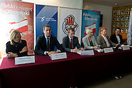 (L-R) Iwona Guzowska and Adam Krzesinski and Dariusz Buza and Krystyna Radkowska and Andrzej Supron and Marcin Zewlakow during press conference before National Day of Sport 2013 at Olympic Centre in Warsaw on October 17, 2013.<br /> <br /> Poland, Warsaw, October 17, 2013<br /> <br /> Picture also available in RAW (NEF) or TIFF format on special request.<br /> <br /> For editorial use only. Any commercial or promotional use requires permission.<br /> <br /> Mandatory credit:<br /> Photo by © Adam Nurkiewicz / Mediasport