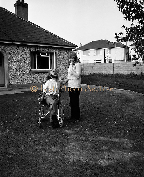 30/08/1972<br /> 08/30/1972<br /> 30 August 1972<br /> Author Christy Brown and fianc&eacute; Miss Carr at Lisheen, Stoney Park, Rathcoole Co. Dublin