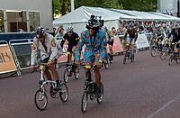 Competitors race away from the start of The Brompton World Championship. Saturday 28th July 2018<br /> <br /> Photo: Ian Walton for Prudential RideLondon<br /> <br /> Prudential RideLondon is the world's greatest festival of cycling, involving 100,000+ cyclists - from Olympic champions to a free family fun ride - riding in events over closed roads in London and Surrey over the weekend of 28th and 29th July 2018<br /> <br /> See www.PrudentialRideLondon.co.uk for more.<br /> <br /> For further information: media@londonmarathonevents.co.uk