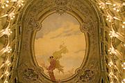 Fresco by Osvaldo Bignami, painted in 1909 on the ceiling of Fraschini Theater, Pavia. © Carlo Cerchioli..L'affresco di Osvaldo Bignami, dipinto nel 1909, sul soffitto del teatro Fraschini, Pavia.
