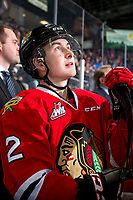 KELOWNA, CANADA - MARCH 3: Kade Nolan #2 of the Portland Winterhawks stands on the bench against the Kelowna Rockets on March 3, 2019 at Prospera Place in Kelowna, British Columbia, Canada.  (Photo by Marissa Baecker/Shoot the Breeze)