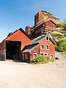 Photograph of the abandoned, historic Kennicott Copper Mine in Wrangell-Saint Elias National Park, near McCarthy, Alaska.