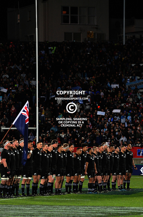 The All Blacks line up before the Rugby Championship match between the NZ All Blacks and Argentina Pumas at Yarrow Stadium in New Plymouth, New Zealand on Saturday, 9 September 2017. Photo: Dave Lintott / lintottphoto.co.nz