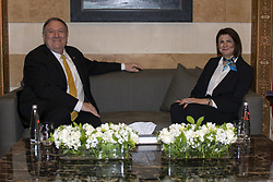 March 22, 2019 - Beriut, Lebanon - U.S. Secretary of State Mike Pompeo, left, during a bilateral meeting with Lebanese Minister of Interior Raya El Hassan March 22, 2019 in Beirut, Lebanon. (Credit Image: © Ron Przysucha via ZUMA Wire)
