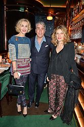 Left to right, ALLEGRA HICKS, ANTONIO MONFREDA and MARTINA MONDADORI at a dinner hosted by Roger Vivier to celebrate The Prismick Denim by Camillle Seydoux held at Casa Cruz, 123 Clarendon Road, London on 17th March 2016.
