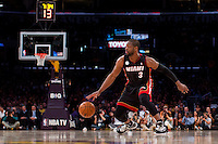 17 January 2013: Guard (3) Dwyane Wade of the Miami Heat dribbles the ball against the Los Angeles Lakers during the second half of the Heat's 99-90 victory over the Lakers at the STAPLES Center in Los Angeles, CA.