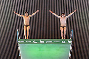 Tom Daley of Great Britain (left) and Matty Lee of Great Britain in the Men's Syncronised 10m dive warmup session  during the FINA/CNSG Diving World Series 2019 at London Aquatics Centre, London, United Kingdom on 17 May 2019.