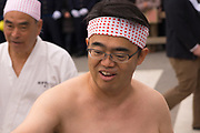 Governor of Aichi Prefecture, Hideaki Omura at the Konomiya Naked Man Festival (or Konomiya Hadaka Matsuri)