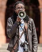 Many speakers address the crowd during the Black Lives Matter Protest in Merthyr Tydfil, Wales on 7 June 2020.