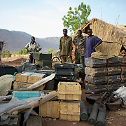 May 01, 2012 - Kauda, Nuba Mountains, South Kordofan, Sudan: Sudan People's Liberation Movement (SPLA-N) rebel fighters show weapons and ammunition captured from Sudan's Armed Forces (SAF) during recent combats in the rebel-held territory of the Nuba Mountains in South Kordofan. SPLA-North, a historical ally of SPLA, South Sudan's former rebel forces, has since last June being fighting the Sudanese Army Forces (SAF) over the right to autonomy and of the end of persecution of Nuba people by the regime of President Bashir.
