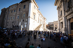 July 13, 2017 - Rome, Italy, Italy - No one is illegal, demonstration in Campidoglio against Mayor of Rome Virginia Raggi policies to say that the problems of Rome are not migrants. (Credit Image: © Andrea Ronchini/Pacific Press via ZUMA Wire)