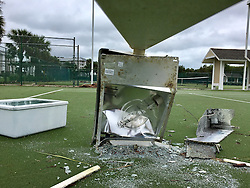 October 7, 2016 - Florida, U.S. - Broken lights litter the tennis courts of the Marriott on Hutchinson Island Friday morning. (Credit Image: © Richard Graulich/The Palm Beach Post via ZUMA Wire)