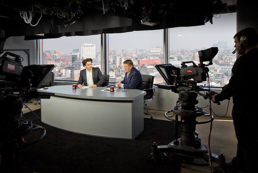 TV news studio london england uk presenters