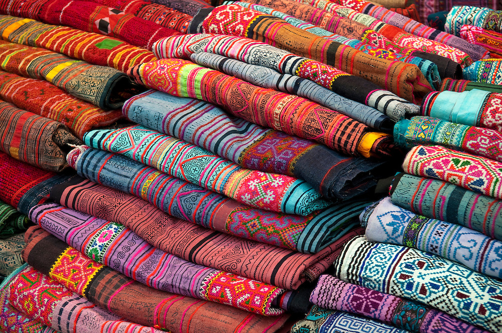 Woven Thai silk fabric for sale at the Night Market, Chiang Mai, Thailand.