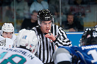 KELOWNA, CANADA - JANUARY 2: Kevin Crowell, linesman, prepares to drop the puck between the Kelowna Rockets and the Victoria Royals on January 2, 2016 at Prospera Place in Kelowna, British Columbia, Canada.  (Photo by Marissa Baecker/Shoot the Breeze)  *** Local Caption *** Kevin Crowell; linesman; official;