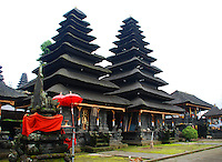 Unusual shaped buildings with tiered roofs.  Mother Temple in Bali, Indonesia.