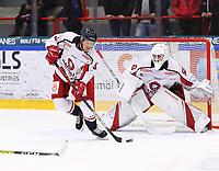 2019-10-23 | Ljungby, Sweden: Hanhals (3) Anton Sandberg during the game between IF Troja / Ljungby and Hanhals IF at Ljungby Arena ( Photo by: Fredrik Sten | Swe Press Photo )<br /> <br /> Keywords: Ljungby, Icehockey, HockeyEttan, Ljungby Arena, IF Troja / Ljungby, Hanhals IF, fsth191023, ATG HockeyEttan