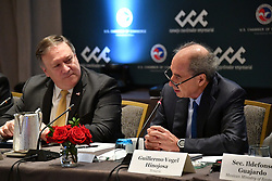 October 10, 2018 - Washington, DC, United States of America - Guillermo Vogel Hinojosa, President of the North American Steel Council, right, remarks as U.S. Secretary of State Mike Pompeo, left, looks on during the U.S. - Mexico CEO Dialogue talks at the Department of State October 10, 2018 in Washington, DC. (Credit Image: © Michael Gross via ZUMA Wire)
