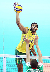 10.09.2014, Hala Spodec, Katowice, POL, FIVB WM, Brasilien vs Bulgarien, im Bild Wallace De Souza // during the FIVB Volleyball Men's World Championships Match beween Brazilia and Bulgaria at the Hala Spodec in Katowice, Poland on 2014/09/10. EXPA Pictures © 2014, PhotoCredit: EXPA/ Newspix/ Tomasz Wantula<br /> <br /> *****ATTENTION - for AUT, SLO, CRO, SRB, BIH, MAZ, TUR, SUI, SWE only*****