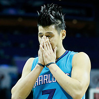01 November 2015: Charlotte Hornets guard Jeremy Lin (7) looks dejected during the Atlanta Hawks 94-92 victory over the Charlotte Hornets, at the Time Warner Cable Arena, in Charlotte, North Carolina, USA.