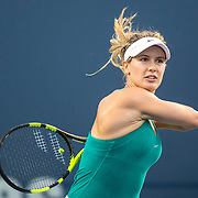 August 24, 2016, New Haven, Connecticut: <br /> Eugenie Bouchard of Canada in action during a match against Petra Kvitova on Day 6 of the 2016 Connecticut Open at the Yale University Tennis Center on Wednesday, August  24, 2016 in New Haven, Connecticut. <br /> (Photo by Billie Weiss/Connecticut Open)