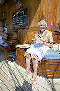Buffet lunch aboard the Sea Cloud. Dotty sitting at her favourite spot.