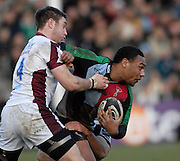 Twickenham, GREAT BRITAIN,  Quins, Jordan TURNER-HALL, pushing his way through,  Johne MURPHY and Aaron MAUGER's tackles, during the Guinness Premiership Game, Harlequins [Quins] vs Leicester Tigers, at the Twickenham Stoop 06/01/2008 [Mandatory credit Peter Spurrier/ Intersport Images].