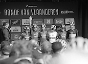 Belgium, April 8 2016:  Images from the men's and women's 2016 Ronde van Vlaanderen cycle races.<br /> Copyright 2016 Peter Horrell.