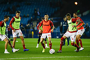 Middlesbrough players  warming up during the EFL Sky Bet Championship match between Sheffield Wednesday and Middlesbrough at Hillsborough, Sheffield, England on 19 October 2018.