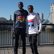 Guye Adola,Keninisa Bekele - Elite men photocall - Virgin Money London Marathon at Tower Hill on 19 April 2018, London, UK.