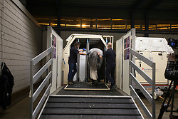 CNN filming <br /> Departure of the horses to the World Cup Finals in Las Vegas from Schiphol - Amsterdam 2015.<br />  © Hippo Foto - Dirk Caremans