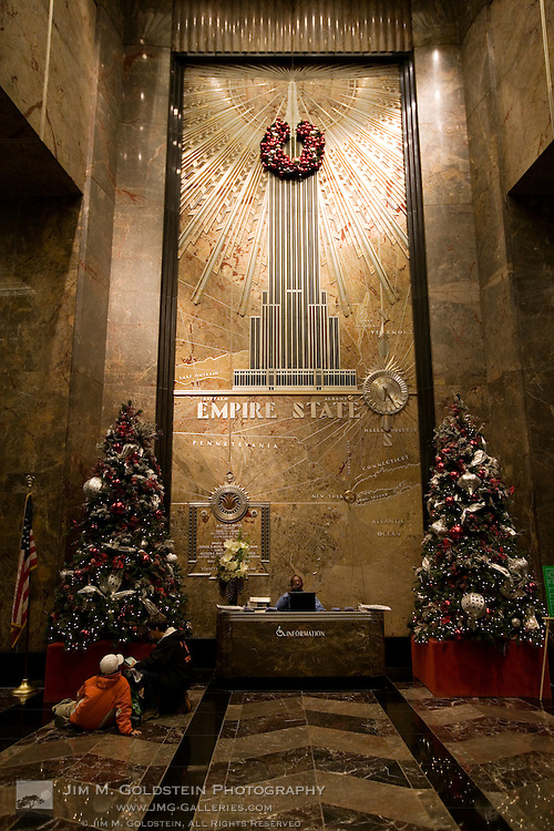 Christmas decorations in the Empire State building lobby.
