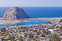 Morro Rock and Bay from Black Hill in Morro Bay, California.