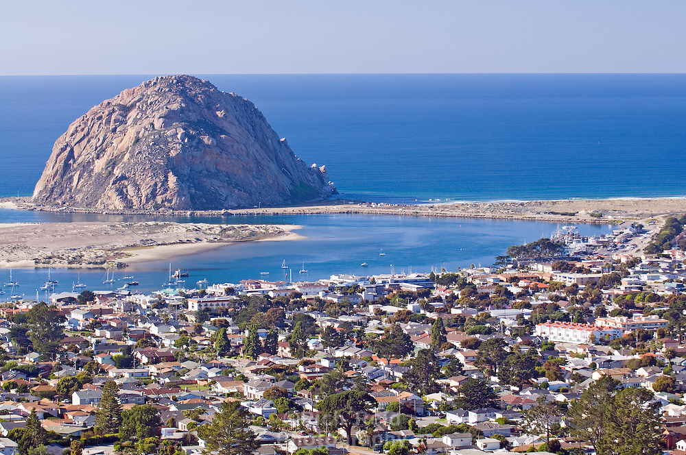 Morro Rock and Bay from Black Hill in Morro Bay, California.
