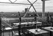France. Paris elevated view and paris cityscape ,  view from Chez George cafe on the top of Beaubourg museum terrace/ La terrasse du musee beaubourg