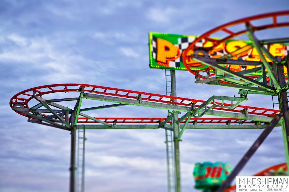 Pole Position roller coaster ride, Western Idaho Fair, Ada County, Boise, Idaho