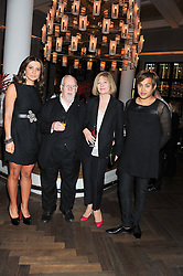 Left to right, ELLA KRASNER, SIR PETER & LADY BLAKE and PABLO GANGULI at a dinner hosted by Pablo Ganguli and Ella Krasner to celebrate the 10th Anniversary of Liberatum and in honour of Sir Peter Blake held at The Corinthia Hotel, Nortumberland Avenue, London on 23rd November 2011.