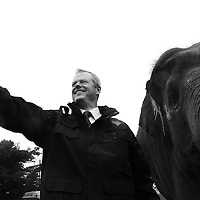 "(Mendon, MA - 6/28/15) Gov. Charlie Baker takes a selfie with Asian elephant Rosie during the 50th anniversary ""Golden Zoobilation"" celebration at Southwick's Zoo, Sunday, June 28, 2015. Staff photo by Angela Rowlings."