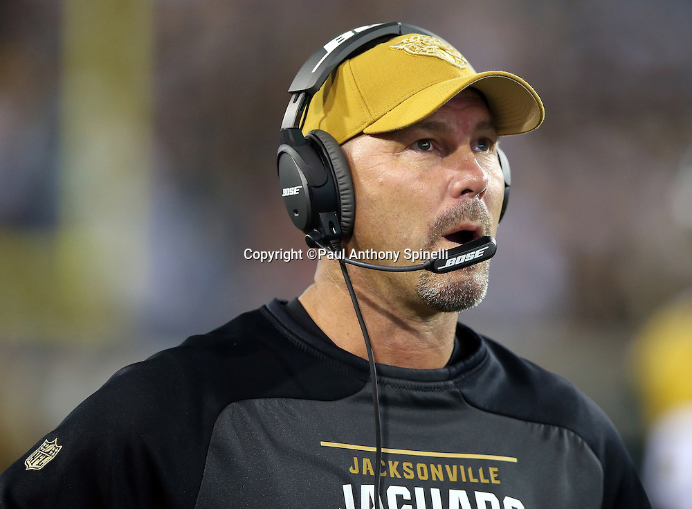 Jacksonville Jaguars head coach Gus Bradley calls out from the sideline during the 2015 week 11 regular season NFL football game against the Tennessee Titans on Thursday, Nov. 19, 2015 in Jacksonville, Fla. The Jaguars won the game 19-13. (©Paul Anthony Spinelli)