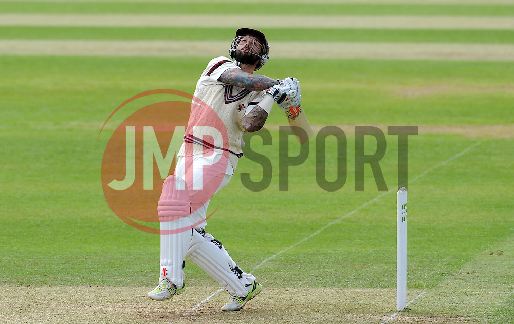 Somerset's Peter Trego hits the ball. Photo mandatory by-line: Harry Trump/JMP - Mobile: 07966 386802 - 09/05/15 - SPORT - CRICKET - Somerset v New Zealand - Day 2- The County Ground, Taunton, England.