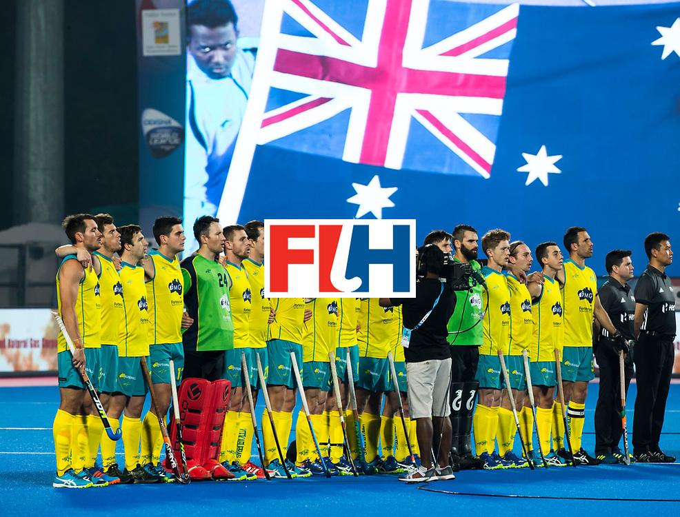 BHUBANESWAR -  Line up Australia. . Hockey World League finals , Quarter Finals . Australia v Spanje .  .  COPYRIGHT KOEN SUYK