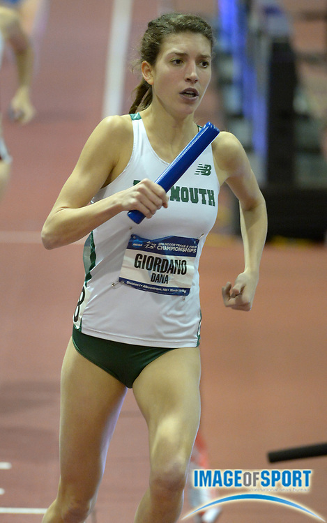 Mar 14, 2014; Albuquerque, NM, USA; Dana Giordano runs the 1,600m anchor leg on the Darmouth womens distance medley relay in the 2014 NCAA Indoor Championships at Albuquerque Convention Center.